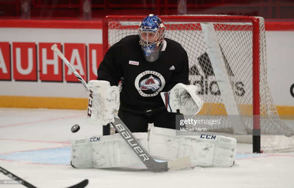 Goaltender Semyon Varlamov #1 of the Colorado Avalanche makes a save during morning skate at the Ericsson Globe on November 10, 2017 in Stockholm, Sweden.