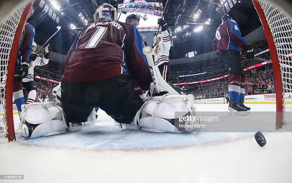 Goaltender <a gi-track='captionPersonalityLinkClicked' href=/galleries/search?phrase=Semyon+Varlamov&family=editorial&specificpeople=6264893 ng-click='$event.stopPropagation()'>Semyon Varlamov</a> #1 of the Colorado Avalanche reacts after a third period goal is scored by the Chicago Blackhawks at the Pepsi Center on March 12, 2014 in Denver, Colorado.