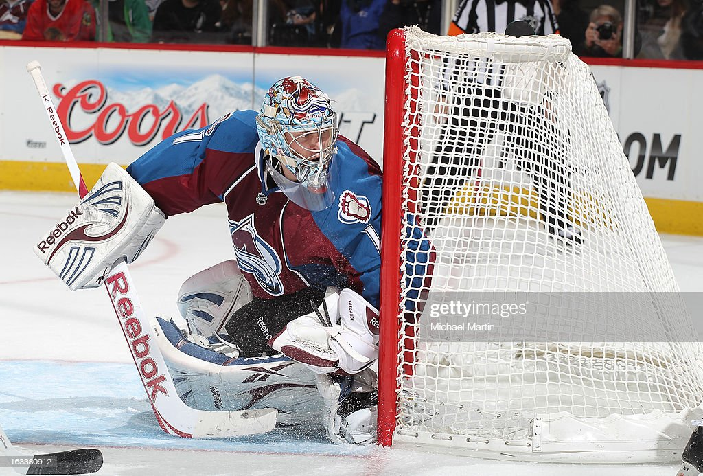 Goaltender Semyon Varlamov #1 of the Colorado Avalanche watches the puck against the Chicago Blackhawks at the Pepsi Center on March 8, 2013 in Denver, Colorado.