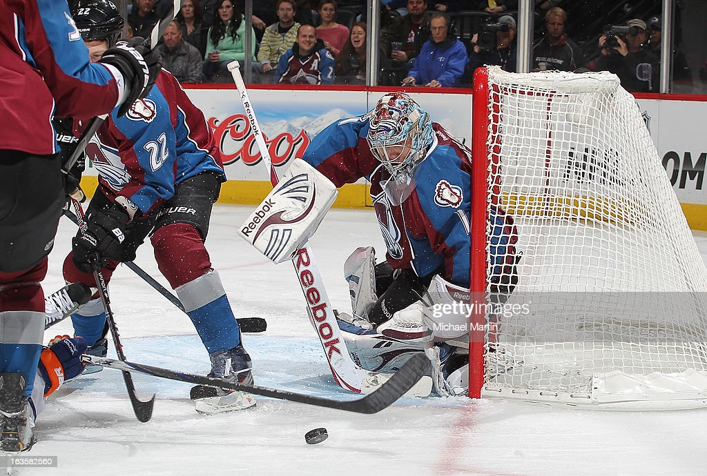 Goaltender <a gi-track='captionPersonalityLinkClicked' href=/galleries/search?phrase=Semyon+Varlamov&family=editorial&specificpeople=6264893 ng-click='$event.stopPropagation()'>Semyon Varlamov</a> #1 of the Colorado Avalanche watches the puck against the Edmonton Oilers at the Pepsi Center on March 12, 2013 in Denver, Colorado.