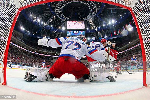 Goaltender Sergei Bobrovski of Russia makes a save during the 2015 IIHF Ice Hockey World Championship gold medal Game between Canada and Russia at...