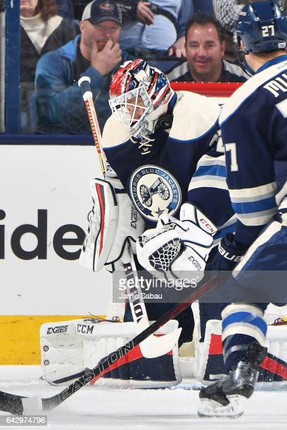 Goaltender Sergei Bobrovsky of the Columbus Blue Jackets blocks a shot during the first period of a game against the Nashville Predators on February...