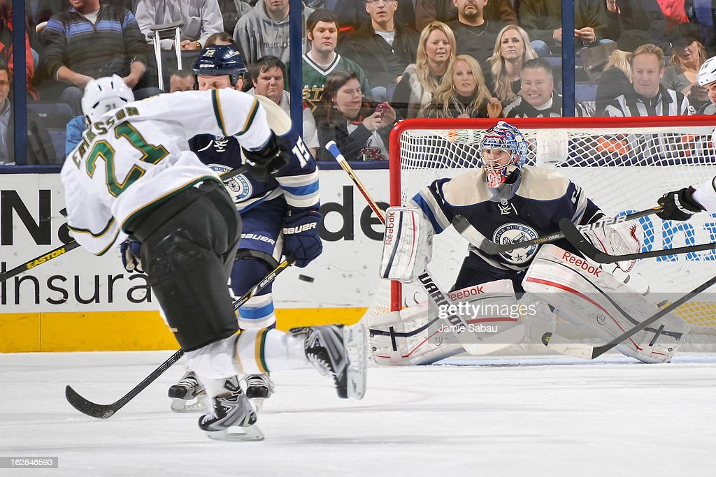 Goaltender Sergei Bobrovsky #72 of the Columbus Blue Jackets defends the net against the Dallas Stars on February 26, 2013 at Nationwide Arena in Columbus, Ohio.