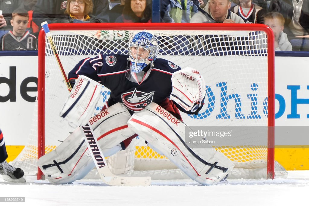 Goaltender Sergei Bobrovsky #72 of the Columbus Blue Jackets defends the net against the Phoenix Coyotes on March 16, 2013 at Nationwide Arena in Columbus, Ohio.
