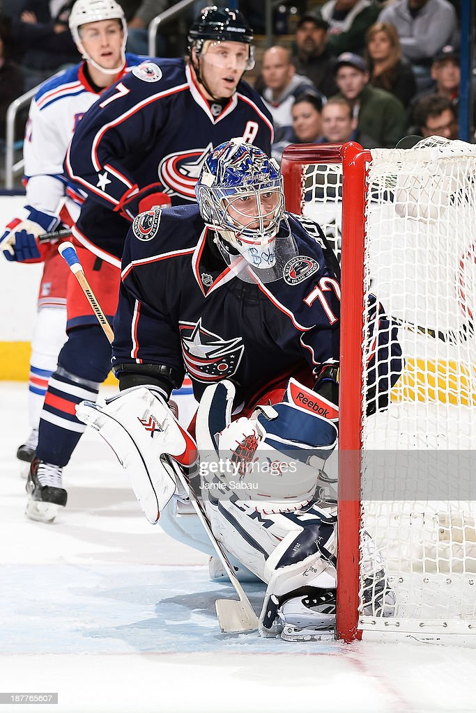 Goaltender Sergei Bobrovsky #72 of the Columbus Blue Jackets defends the net against the New York Rangers on November 7, 2013 at Nationwide Arena in Columbus, Ohio.
