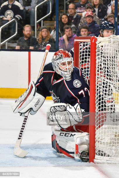 Goaltender Sergei Bobrovsky of the Columbus Blue Jackets defends the net against the Pittsburgh Penguins on February 17 2017 at Nationwide Arena in...