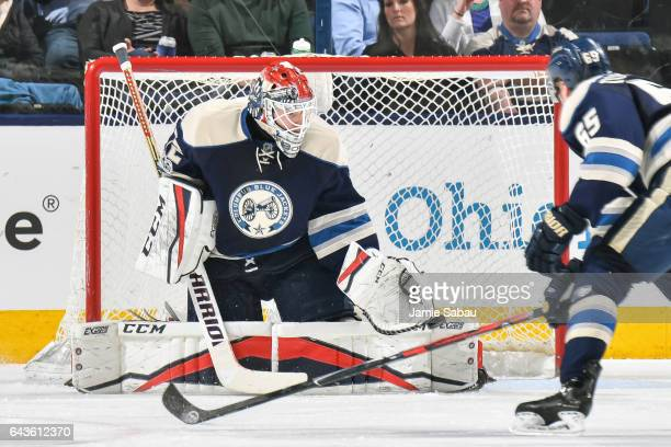Goaltender Sergei Bobrovsky of the Columbus Blue Jackets defends the net against the Nashville Predators on February 19 2017 at Nationwide Arena in...