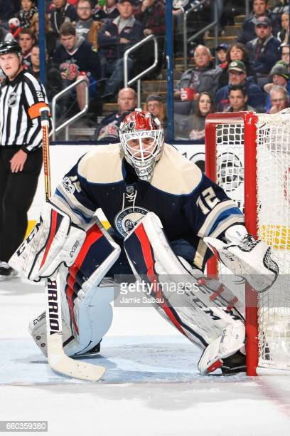Goaltender Sergei Bobrovsky of the Columbus Blue Jackets defends the net against the Buffalo Sabres on March 28 2017 at Nationwide Arena in Columbus...