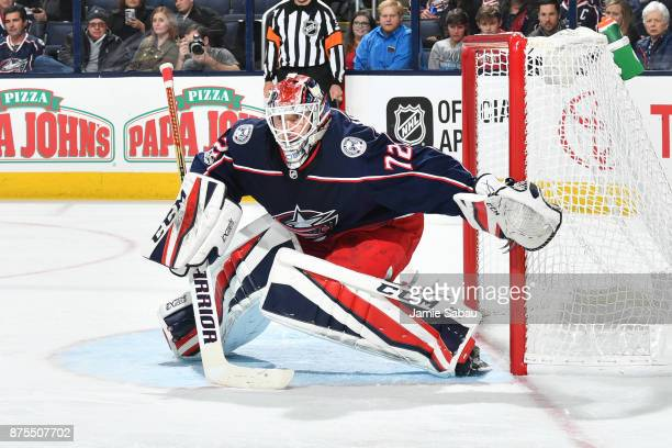 Goaltender Sergei Bobrovsky of the Columbus Blue Jackets defends the net during the second period of a game against the New York Rangers on November...