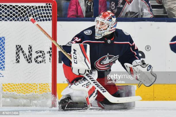 Goaltender Sergei Bobrovsky of the Columbus Blue Jackets defends the net against the New York Rangers on November 17 2017 at Nationwide Arena in...