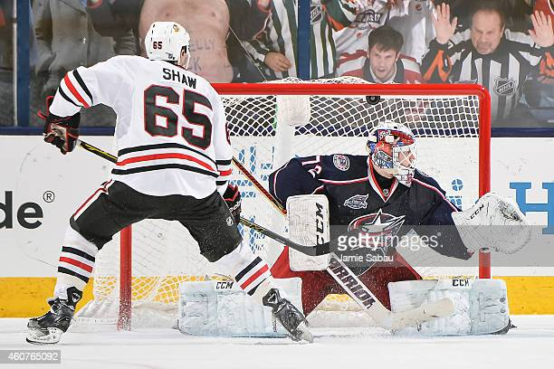Goaltender Sergei Bobrovsky of the Columbus Blue Jackets is scored on by Andrew Shaw of the Chicago Blackhawks in a shootout on December 20 2014 at...