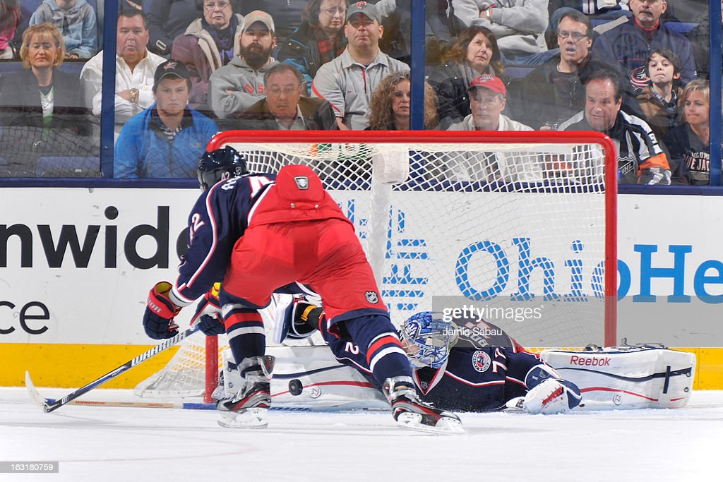 Goaltender <a gi-track='captionPersonalityLinkClicked' href=/galleries/search?phrase=Sergei+Bobrovsky&family=editorial&specificpeople=4488556 ng-click='$event.stopPropagation()'>Sergei Bobrovsky</a> #72 of the Columbus Blue Jackets makes a pad save in overtime against the Edmonton Oilers on March 5, 2013 at Nationwide Arena in Columbus, Ohio. Columbus defeated Edminton 4-3 in a shootout.