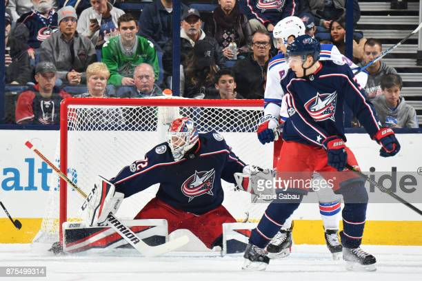Goaltender Sergei Bobrovsky of the Columbus Blue Jackets makes a pad save during the first period of a game against the New York Rangers on November...
