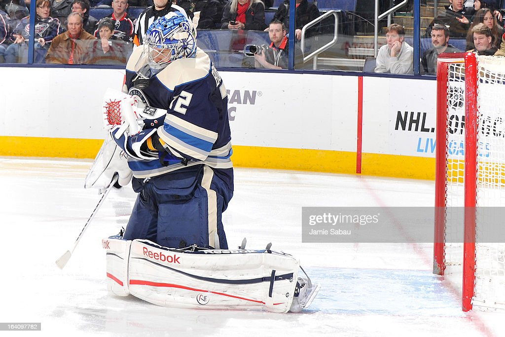 Goaltender <a gi-track='captionPersonalityLinkClicked' href=/galleries/search?phrase=Sergei+Bobrovsky&family=editorial&specificpeople=4488556 ng-click='$event.stopPropagation()'>Sergei Bobrovsky</a> #72 of the Columbus Blue Jackets makes a save in the second period against the Nashville Predators on March 19, 2013 at Nationwide Arena in Columbus, Ohio.