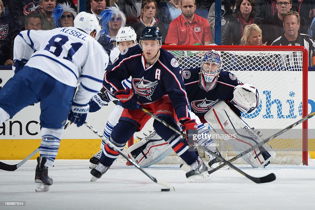 Goaltender <a gi-track='captionPersonalityLinkClicked' href=/galleries/search?phrase=Sergei+Bobrovsky&family=editorial&specificpeople=4488556 ng-click='$event.stopPropagation()'>Sergei Bobrovsky</a> #72 of the Columbus Blue Jackets prepares for a shot from <a gi-track='captionPersonalityLinkClicked' href=/galleries/search?phrase=Phil+Kessel&family=editorial&specificpeople=537794 ng-click='$event.stopPropagation()'>Phil Kessel</a> #81 of the Toronto Maple Leafs during the third period on October 25, 2013 at Nationwide Arena in Columbus, Ohio.