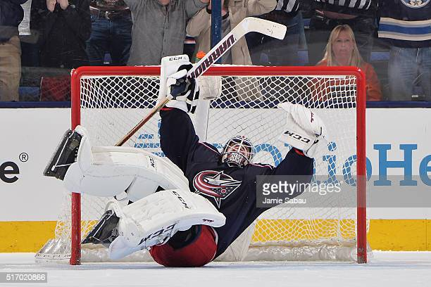 Goaltender Sergei Bobrovsky of the Columbus Blue Jackets reacts after defeating the Philadelphia Flyers 32 in a shootout on March 22 2016 at...