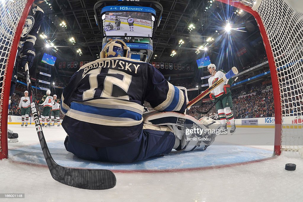 Goaltender <a gi-track='captionPersonalityLinkClicked' href=/galleries/search?phrase=Sergei+Bobrovsky&family=editorial&specificpeople=4488556 ng-click='$event.stopPropagation()'>Sergei Bobrovsky</a> #72 of the Columbus Blue Jackets sits after giving up a second goal to the Minnesota Wild on April 7, 2013 at Nationwide Arena in Columbus, Ohio. Minnesota defeated Columbus 3-0.