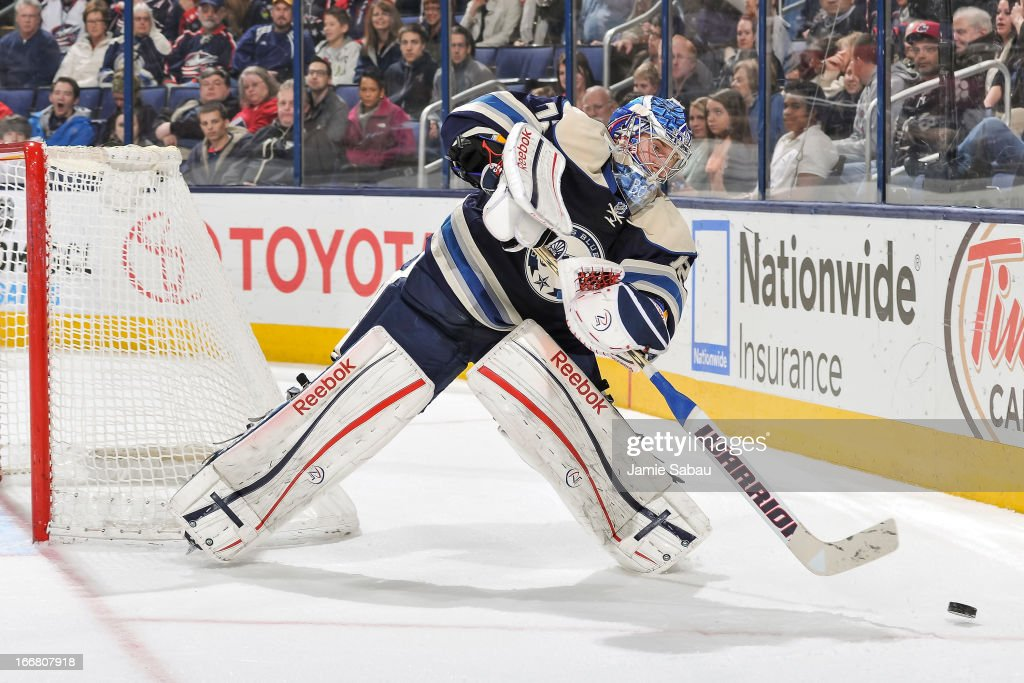 Goaltender Sergei Bobrovsky #72 of the Columbus Blue Jackets skates with the puck against the St. Louis Blues on April 12, 2013 at Nationwide Arena in Columbus, Ohio.