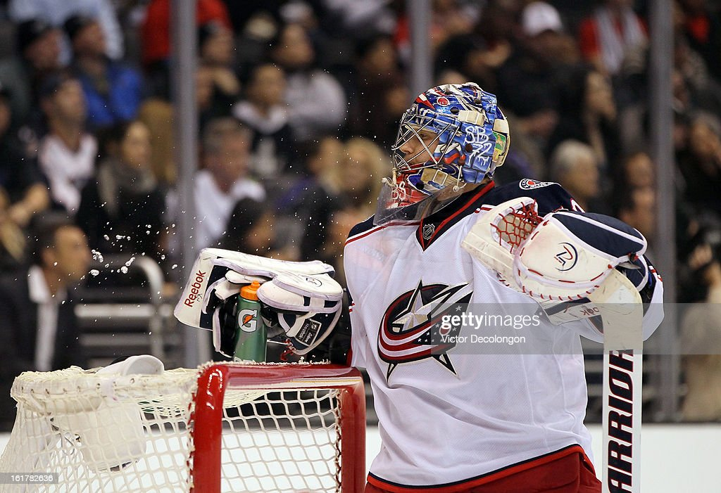 Goaltender Sergei Bobrovsky #72 of the Columbus Blue Jackets takes a drink of water during the NHL game against the Los Angeles Kings at Staples Center on February 15, 2013 in Los Angeles, California. The Kings defeated the Blue Jackets 2-1.