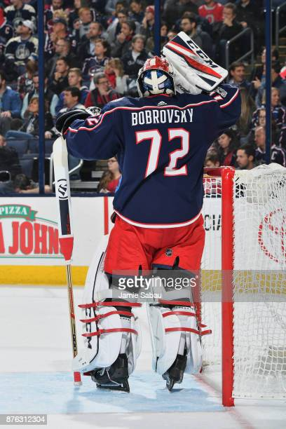 Goaltender Sergei Bobrovsky of the Columbus Blue Jackets takes a breather against the New York Rangers on November 17 2017 at Nationwide Arena in...