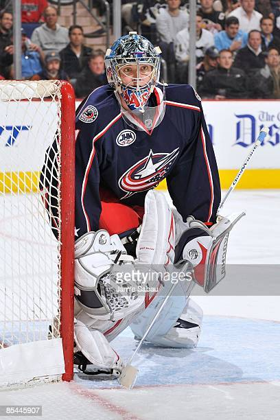 Goaltender Steve Mason of the Columbus Blue Jackets guards the net against the Pittsburgh Penguins on March 12 2009 at Nationwide Arena in Columbus...