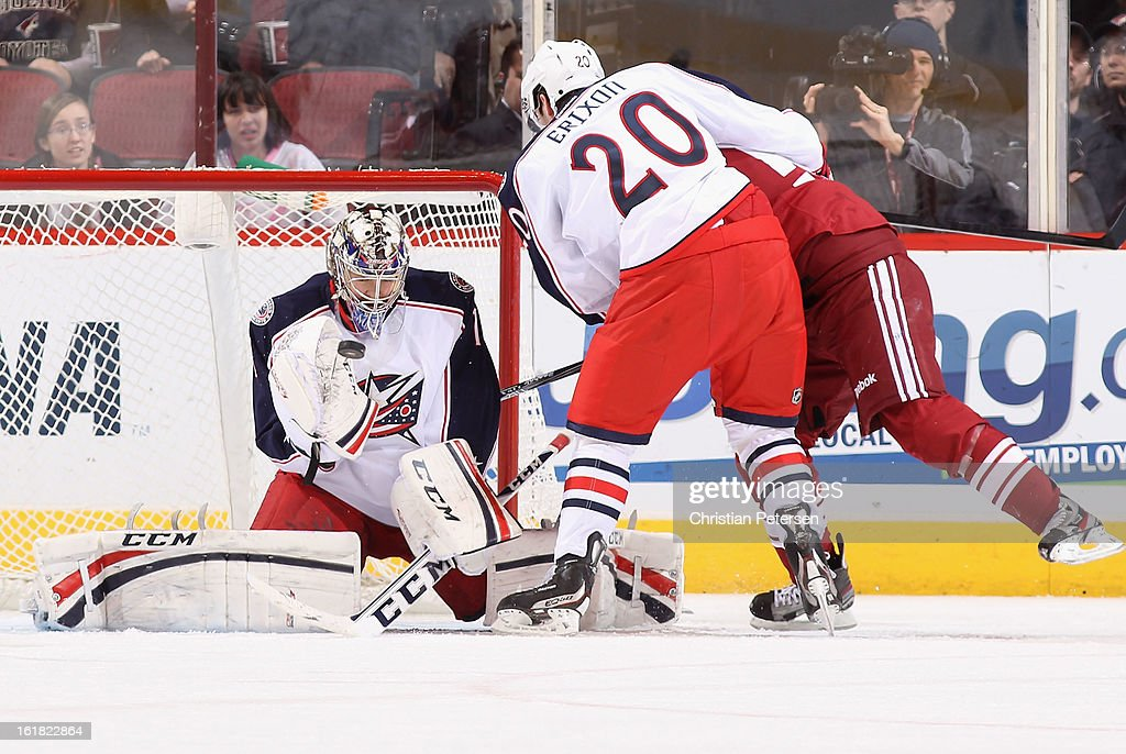 Goaltender Steve Mason #1 of the Columbus Blue Jackets makes a save on the shot from the Phoenix Coyotes during the third period of the NHL game at Jobing.com Arena on February 16, 2013 in Glendale, Arizona. The Coyotes defeated the Blue Jackets 5-3.