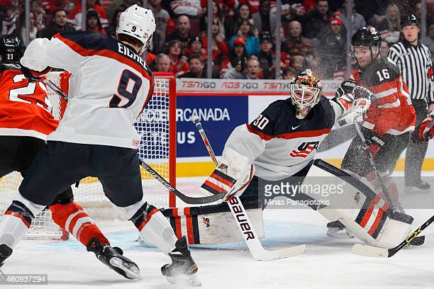 Goaltender Thatcher Demko of Team United States stretches out the pad to make a save during the 2015 IIHF World Junior Hockey Championship game at...