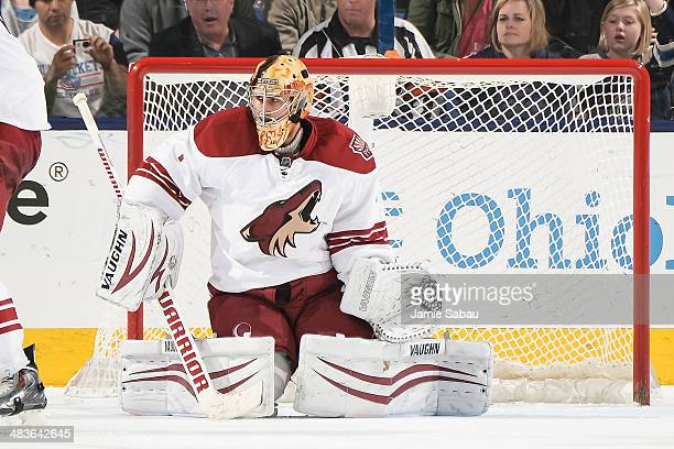 Goaltender Thomas Greiss of the Phoenix Coyotes defends the net against the Columbus Blue Jackets on April 8 2014 at Nationwide Arena in Columbus Ohio