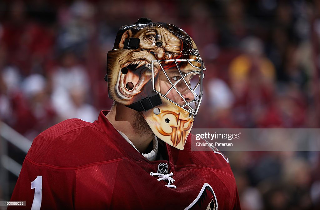 Goaltender <a gi-track='captionPersonalityLinkClicked' href=/galleries/search?phrase=Thomas+Greiss&family=editorial&specificpeople=695275 ng-click='$event.stopPropagation()'>Thomas Greiss</a> #1 of the Phoenix Coyotes during the NHL game against the Winnipeg Jets at Jobing.com Arena on April 1, 2014 in Glendale, Arizona.