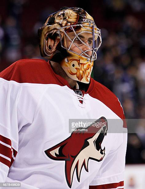 Goaltender Thomas Greiss of the Phoenix Coyotes skates during warmup prior to facing the Vancouver Canucks before their NHL game at Rogers Arena on...