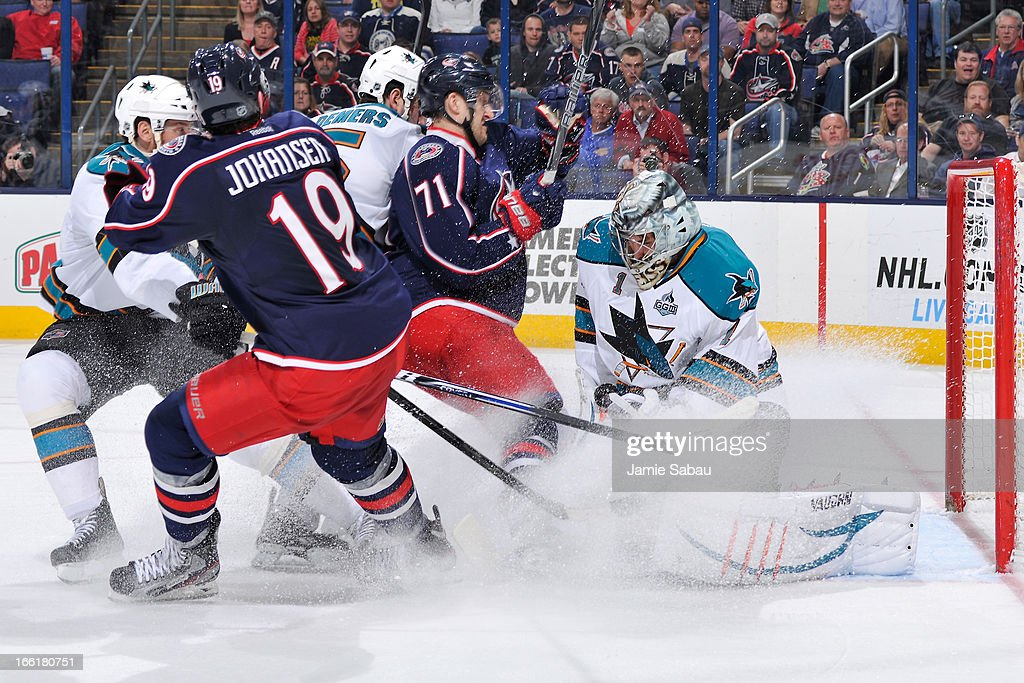 Goaltender <a gi-track='captionPersonalityLinkClicked' href=/galleries/search?phrase=Thomas+Greiss&family=editorial&specificpeople=695275 ng-click='$event.stopPropagation()'>Thomas Greiss</a> of the San Jose Sharks blocks a shot during the third period on April 9, 2013 at Nationwide Arena in Columbus, Ohio. Columbus defeated San Jose 4-0.