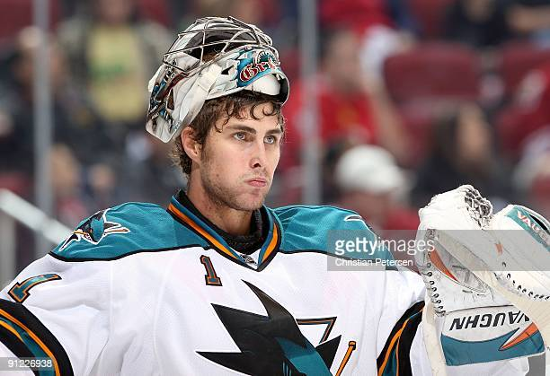 Goaltender Thomas Greiss of the San Jose Sharks during the preseason NHL game against the Phoenix Coyotes at Jobingcom Arena on September 26 2009 in...