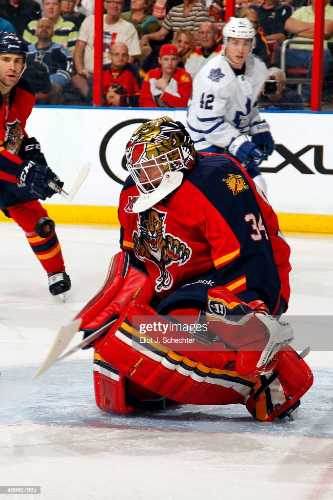 Goaltender Tim Thomas #34 of the Florida Panthers defends the net against the Toronto Maple Leafs at the BB&T Center on February 4, 2014 in Sunrise, Florida.