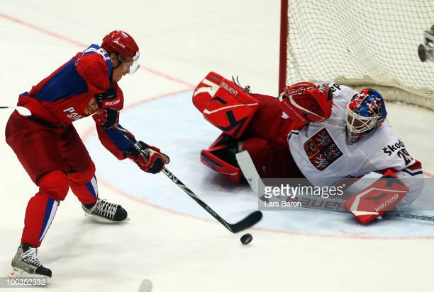 Goaltender Tomas Vokoun of Czech Republic saves a shoot of Maxim Afinogenov of Russia during the IIHF World Championship gold medal match between...