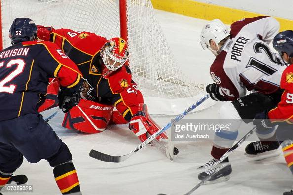 Goaltender Tomas Vokoun of the Florida Panthers stops a shot by Kevin Porter of the Colorado Avalanche on December 7 2010 at the BankAtlantic Center...