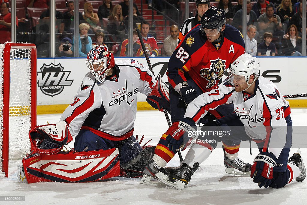 Goaltender Tomas Vokoun #29 of the Washington Capitals stops a shot with Tomas Kopecky #82 of the Florida Panthers in the crease on February 17, 2012 at the BankAtlantic Center in Sunrise, Florida.