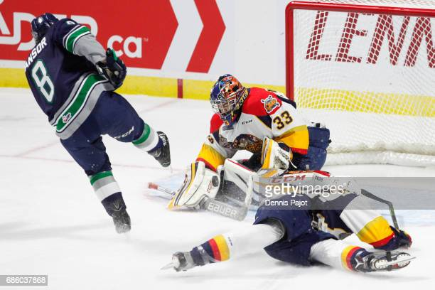 Goaltender Troy Timpano of the Erie Otters makes a blocker save against forward Scott Eansor of the Seattle Thunderbirds on May 20 2017 during Game 2...