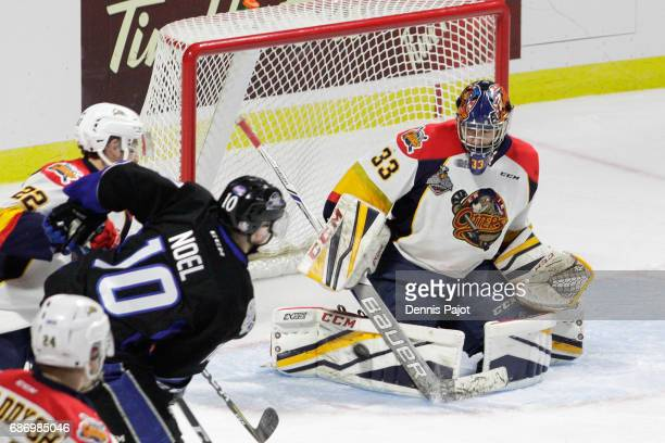 Goaltender Troy Timpano of the Erie Otters makes a pad save on a shot from forward Nathan Noel of the Saint John Sea Dogs on May 22 2017 during Game...