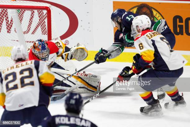 Goaltender Troy Timpano of the Erie Otters makes a save against forward Mathew Barzal of the Seattle Thunderbirds on May 20 2017 during Game 2 of the...