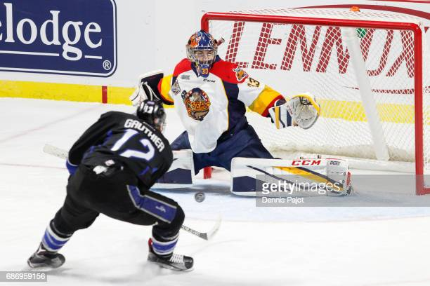 Goaltender Troy Timpano of the Erie Otters makes a save against forward Julien Gauthier of the Saint John Sea Dogs on May 22 2017 during Game 4 of...