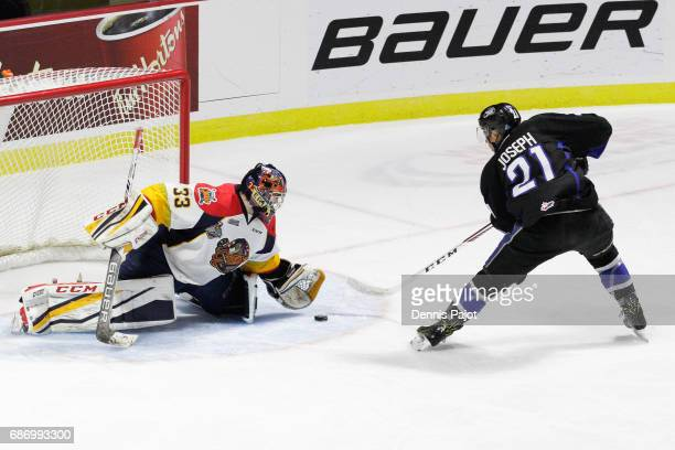 Goaltender Troy Timpano of the Erie Otters makes a save on a penalty shot from forward Mathieu Joseph of the Saint John Sea Dogs on May 22 2017...