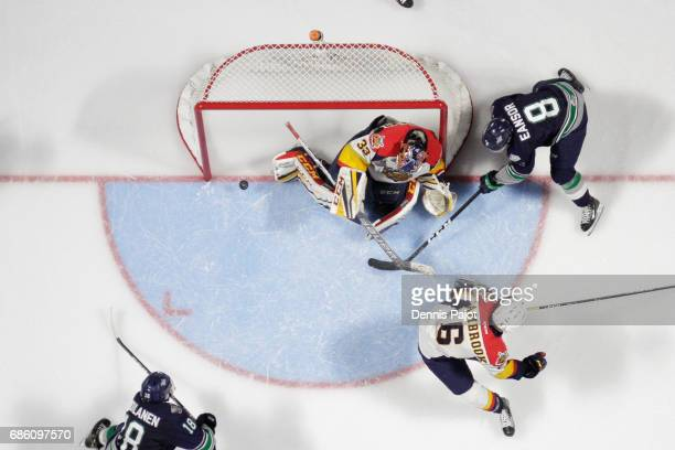 Goaltender Troy Timpano of the Erie Otters makes a save on a wrap around attempt from forward Scott Eansor of the Seattle Thunderbirds on May 20 2017...