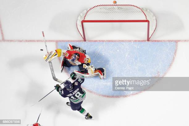 Goaltender Troy Timpano of the Erie Otters makes a save on forward Sami Milanen of the Seattle Thunderbirds on May 20 2017 during Game 2 of the...