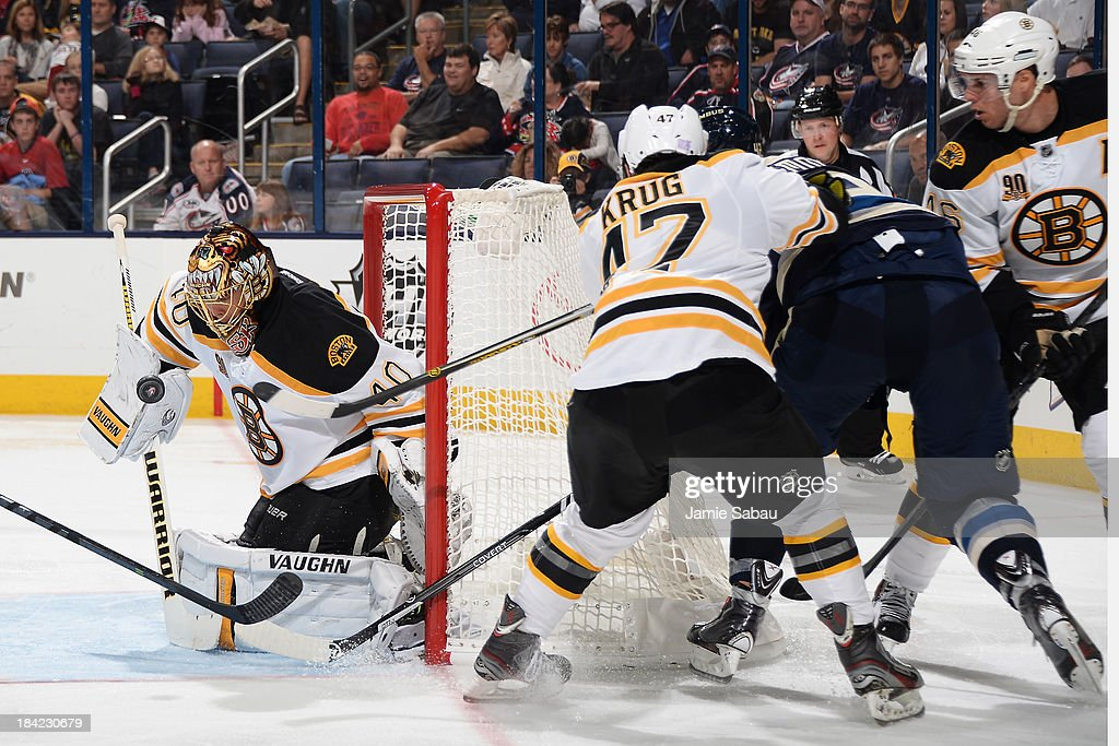 Goaltender <a gi-track='captionPersonalityLinkClicked' href=/galleries/search?phrase=Tuukka+Rask&family=editorial&specificpeople=716723 ng-click='$event.stopPropagation()'>Tuukka Rask</a> #40 of the Boston Bruins blocks a shot taken by <a gi-track='captionPersonalityLinkClicked' href=/galleries/search?phrase=Artem+Anisimov&family=editorial&specificpeople=543215 ng-click='$event.stopPropagation()'>Artem Anisimov</a> #42 of the Columbus Blue Jackets during the third period on October 12, 2013 at Nationwide Arena in Columbus, Ohio. Boston defeated Columbus 3-1.