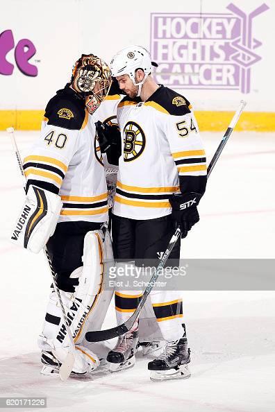 Goaltender tuukka rask of the boston bruins celebrates their 21 win