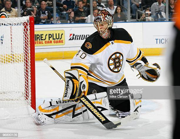 Goaltender Tuukka Rask of the Boston Bruins defends the goal against the Tampa Bay Lightning at the St Pete Times Forum on February 11 2010 in Tampa...