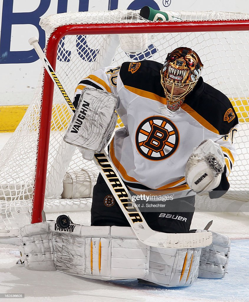 Goaltender <a gi-track='captionPersonalityLinkClicked' href=/galleries/search?phrase=Tuukka+Rask&family=editorial&specificpeople=716723 ng-click='$event.stopPropagation()'>Tuukka Rask</a> #40 of the Boston Bruins defends the net against the Florida Panthers at the BB&T Center on February 24, 2013 in Sunrise, Florida.