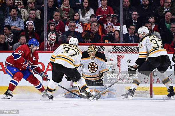 Goaltender Tuukka Rask of the Boston Bruins makes a save on Max Pacioretty of the Montreal Canadiens during the NHL game at the Bell Centre on...