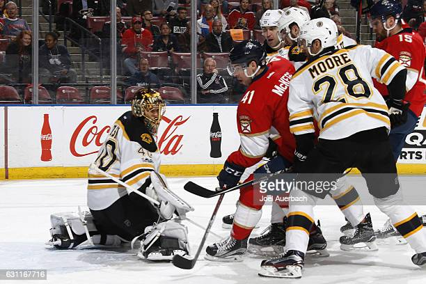 Goaltender Tuukka Rask of the Boston Bruins stops a first period shot by Gregg McKegg of the Florida Panthers at the BBT Center on January 7 2017 in...