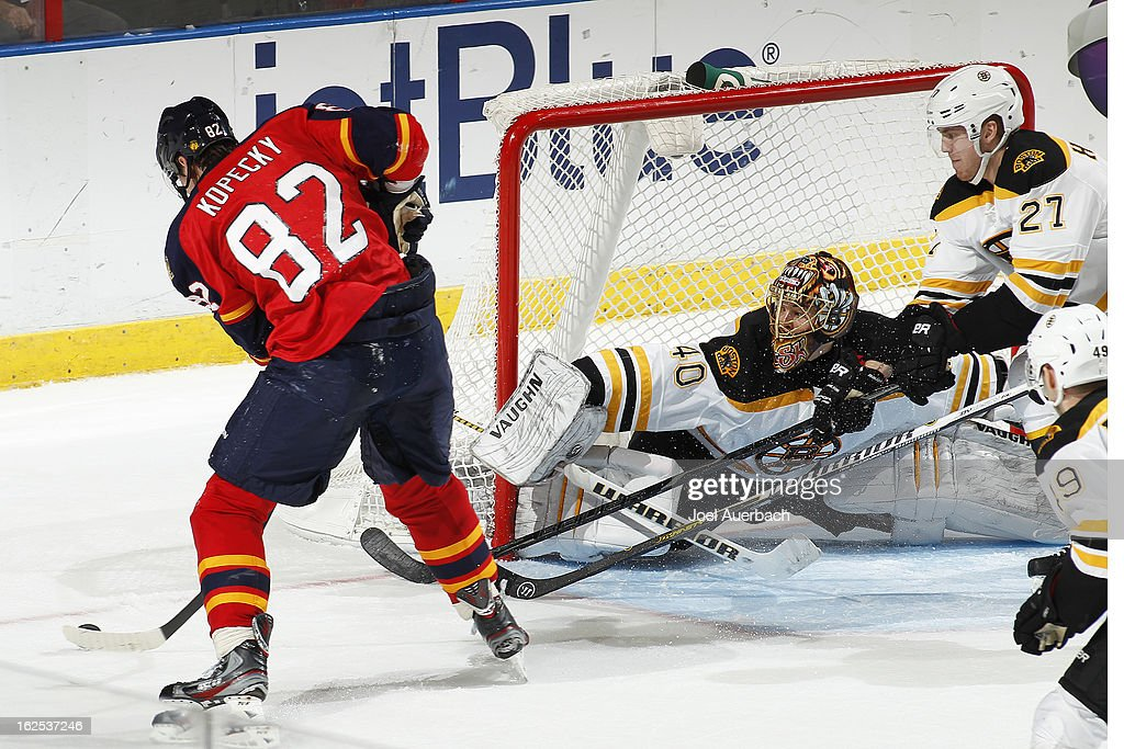 Goaltender Tuukka Rask #40 of the Boston Bruins stretches to protect the post on a late third period shot by Tomas Kopecky #82 of the Florida Panthers at the BB&T Center on February 24, 2013 in Sunrise, Florida. The Bruins defeated the Panthers 4-1.